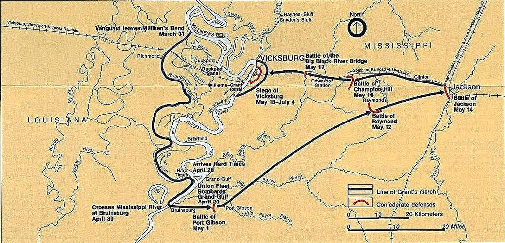 1 4 5 3 2 1. Grant s hold on upper Mississippi & Tennessee allows staging & movement of troops south. 2. Grant crosses river below Vicksburg to come in behind the city. 3. The Union fleet supports and, Grant s forces win from Fort Gibson Big Black River Bridge.