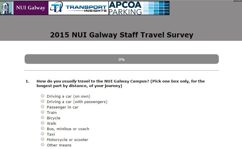 Comprehensive survey data collection in November 2015, and analysis: online staff and student travel questionnaires results compared with previous surveys (2005 onwards) high response rate