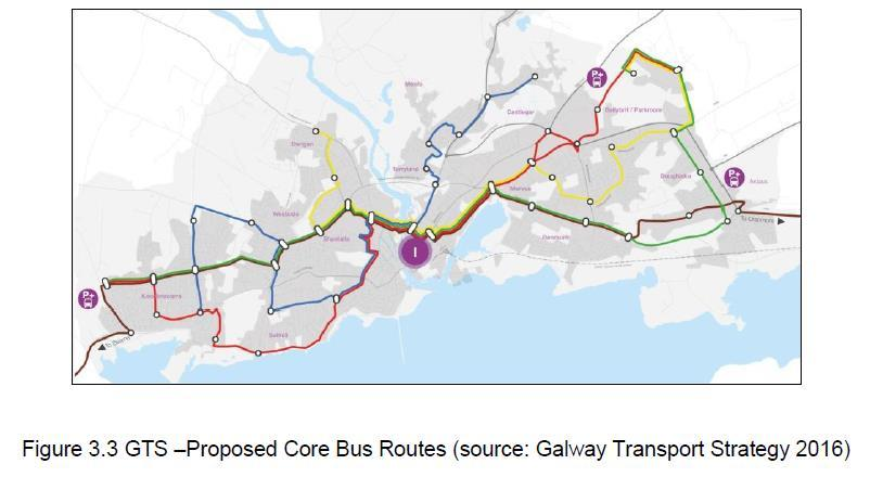 Galway Transport Strategy (2016) jointly developed by NTA and Galway City Council: Focus on increasing public transport, cycle and pedestrian use Significant revisions to bus services through