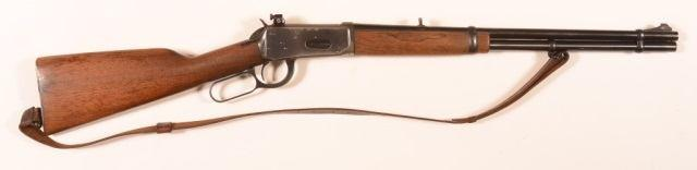 "26"""" barrel, walnut fore-end and stock. SN-96461XH. Condition: Fair to good with some scattered rust and pitting, minor scrapes to wood. 69 CR - J. Stevens Little Scout.22 LR Cal. Boy's Rif CR - J."