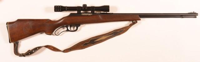 "26"""" barrel, tube magazine, single piece walnut stock. No SN. Condition: Good with scattered rust and light pitting, scrapes to stock. 82 R - Stevens Model 87D.22 Cal. Semi Auto Rifle."