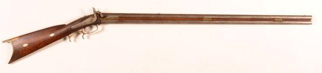 "Page: 24 141 J. P. Guyer, Muncy Over Under Percussion Rifle. Antique J. P. Guyer, Muncy, PA Over Under Percussion Rifle. 34"""" oct. barrels,.45 cal. over 28 Ga."