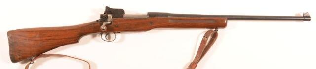 "24"""" round tapered barrel, clip magazine, single piece walnut stock. No SN. Condition: Good with scattered pitting, replaced trigger guard. 194 Thompson/Center Arms.50 Cal. Percussion Rifle."