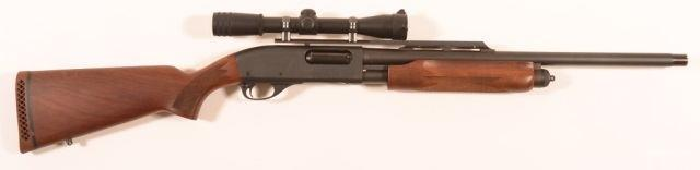 "R - Mossberg Model 500A 12 Ga. Pump Action Shotgun. 24"""" ported barrel with black matte finish, black synthetic fore-arm and stock, B-square scope, with black web shoulder strap."