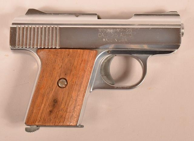 "Page: 8 43 R - Raven Arms Model MP25.25 Cal. Pistol. R - Raven Arms Model MP25.25 Cal. Semi Auto Pistol. 2-1/2"""" barrel, stainless steel frame, wood walnut grips. SN-704858."