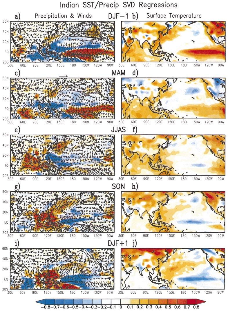 738 JOURNAL OF CLIMATE FIG. 15. The JJAS Indian monsoon precipitation SVD expansion coefficient time series derived from MAM Indian Ocean region surface temperature (pattern in Fig.