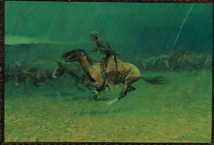 History Through STAMPEDED BY LIGHTNING (1908) Painter and sculptor Frederic Remington is best known for his romantic and spirited depictions of the Western frontier.