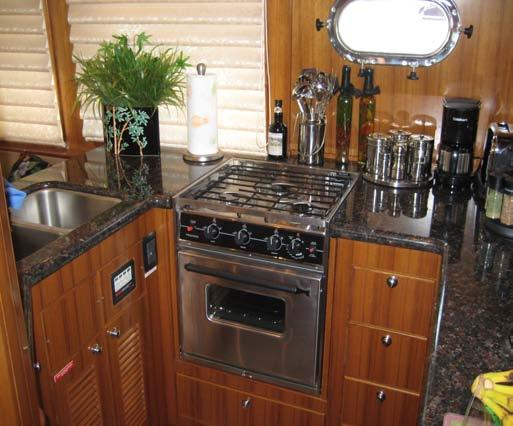 Galley For some reason meals just taste better on the water Reliable brand appliances Double SS sink Gas or electric stove / oven Refrigerator &