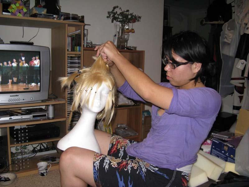 Wig styling.