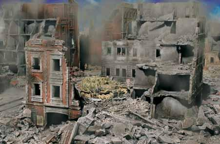 The Russians razed entire blocks before continuing their terrible assaults. Large calibre shells can completely destroy a roof or gut a building.