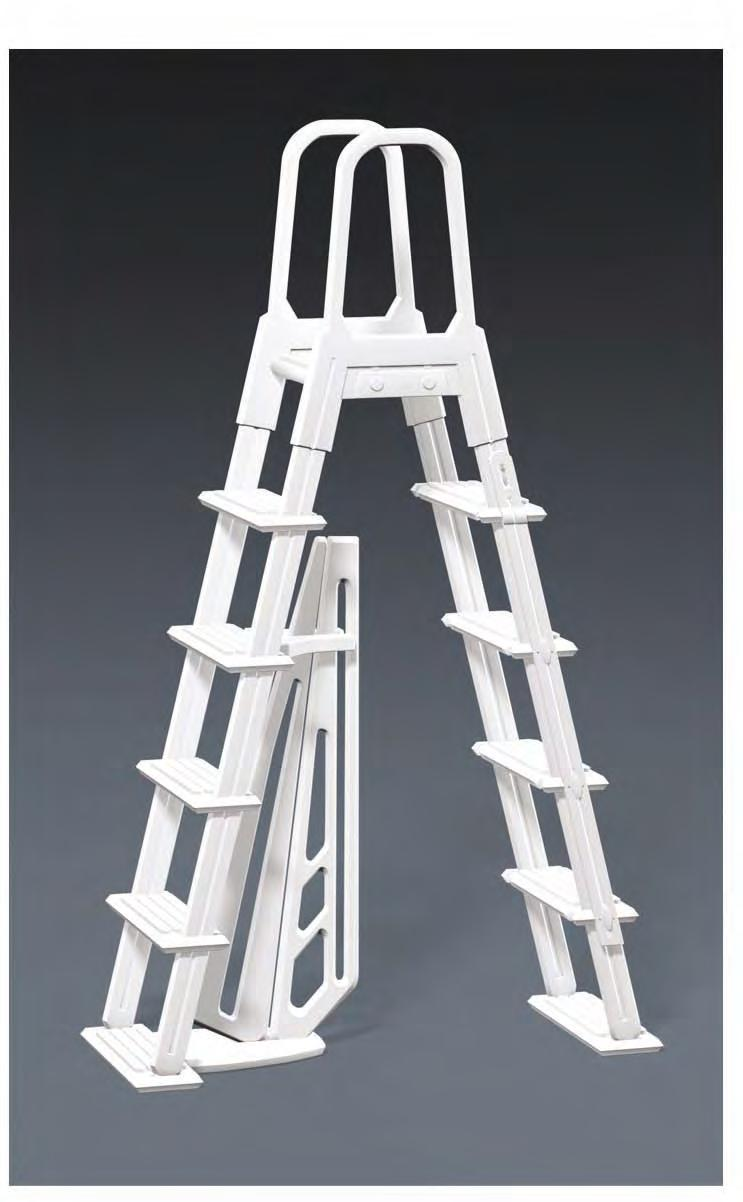 A-FRAME RESIN IN & OUT FLIP UP LADDER NE1222 NOTE FOR SAFETY PURPOSES ALL LADDERS SHOULD BE SECURED BY ATTACHING THEM TO THE TOP LEDGE OF THE POOL.