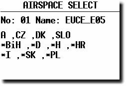 2.3.2 System Setup (Second level) After entering the System Setup, a further 28 system settings are available. 2.3.2.1 AS Select (Selection of airspace sections) The unit is able to store up to 6 sections (0 up to 5) of airspace, which means practically the whole European airspace.