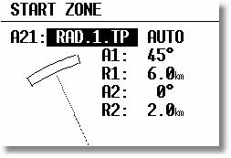 Example 2: Program a 180, 6km Start Zone: A21: TO NEXT POINT and AUTO A1: 90 bisector R1: 3km radius A2: 0 R2: 0 Other possible options for the setting of A21 are: RAD.1.TP: This type of start sector was used in the 1999 World Gliding Championships in Bayreuth.