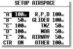 2.3.2.8.2 Airspace (Graphic) This setting allows the pilot to define which airspace types will be shown on the display.