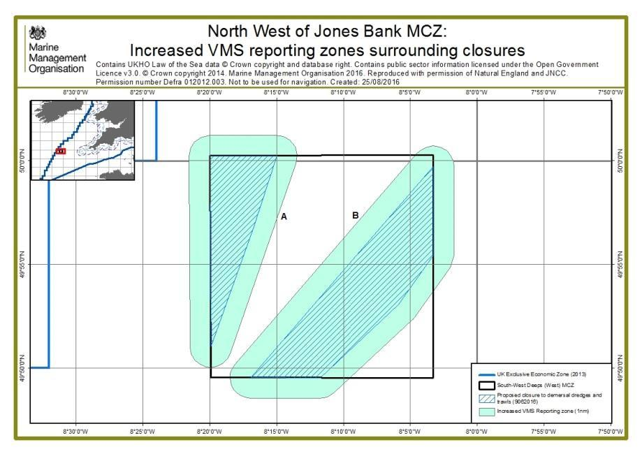Increased reporting zones Proposals include increased VMS reporting zones to ensure that vessels within the vicinity of sites can be identified.