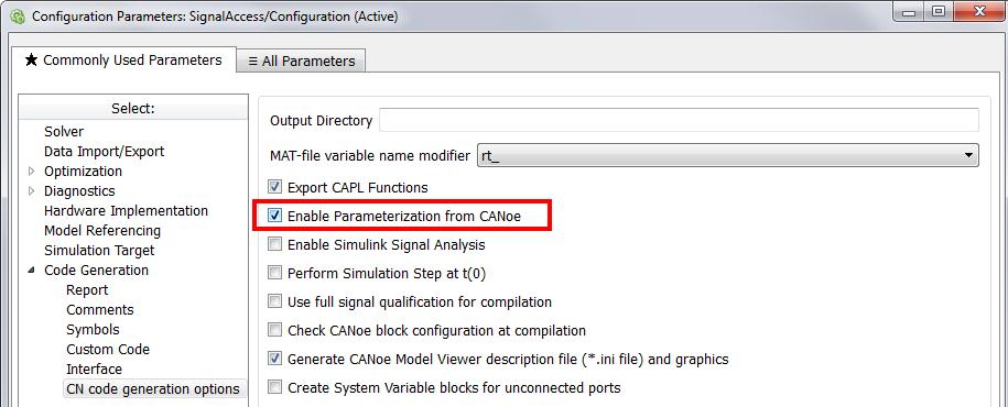 1 Parameterization Per default all parameters of every Simulink block can be made accessible through CANoe.