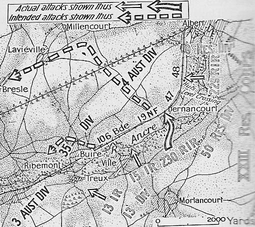 However the hardest fighting involved the 12 th and 13 th Brigades on the railway embankment at Dernancourt this was one of the strongest attacks by the Germans against the Australians.