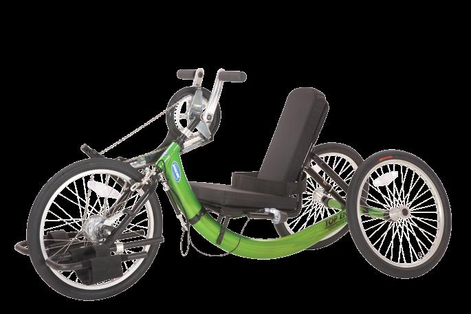 "This extremely stable and maneuverable three-wheel handcycle is great fun for anyone who s between 38"" to 60"" tall."