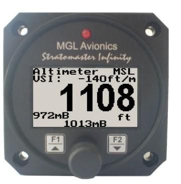 altitude and deviation band Relative Mode: Enter reference altitude Harness: Harness connects to power Down/F2 Button: Down button in menu system Main display scrolling in normal mode Rotary Control