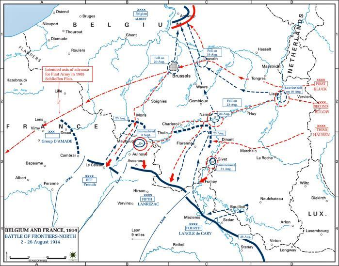 Slide 17 Battles of the Northern Frontiers On 21 st August 1914 German armies defeated the French at the Battle of Charleroi, and then the British Expeditionary Force (BEF) at Mons on 21 st August.