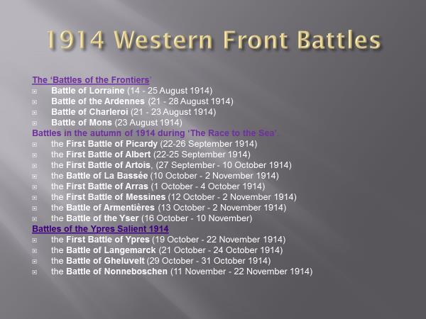 Slide 32 1914 Battles Although the conflict in 1914 had a duration of just five months, it involved a flurry of activity by both sides.