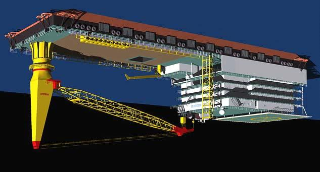 00m Breadth (moulded) 46.00 m Depth moulded to main deck 13.60 m Operational draught 7.00-9.