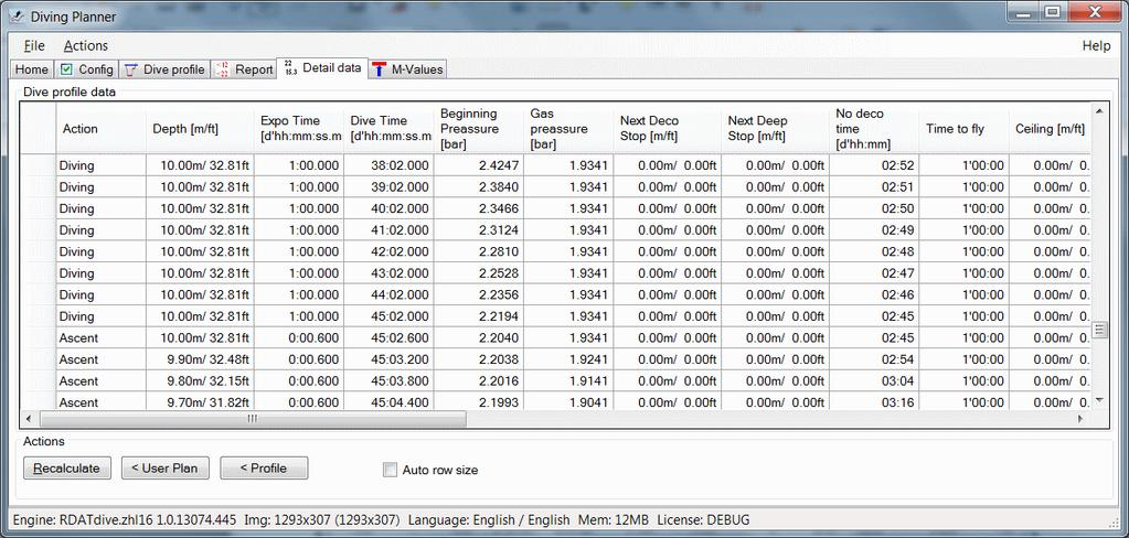 Dive profile details can be found on separate tab.