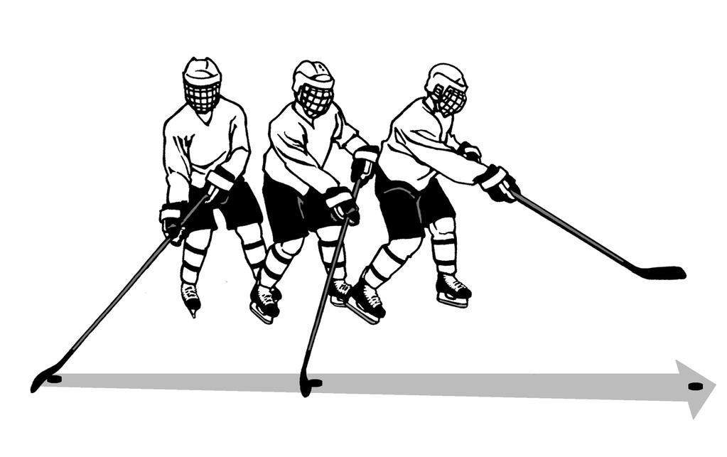 20 The puck should begin near the heel of the blade and roll down the blade as the stick is swept forward. The resulting spin on the puck is necessary to keep it flat on the ice.