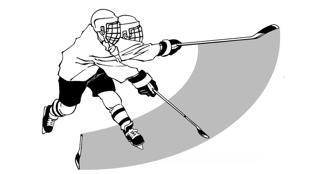 23 As weight is transferred, the arms and hands complete the forward motion of the stick toward the target while dragging or sweeping the puck on the blade of the stick.