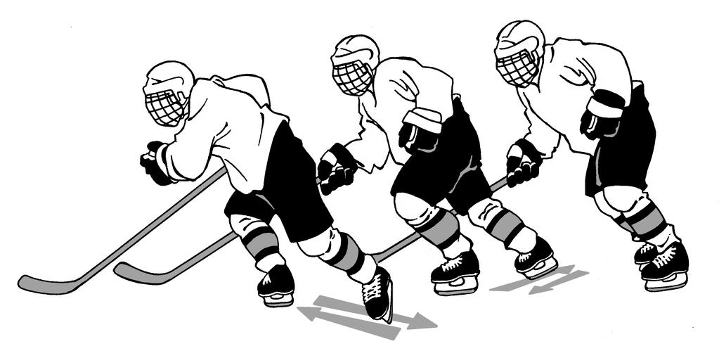 9 The thrusting leg should be extended fully and returned quickly to its original position; then continue by thrusting off the inside edge of the opposite skate, once again striving for full