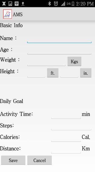 User can set daily goal for activity like the amount of calories to be burned per day, distance to be walked, or number of steps to be walked daily.
