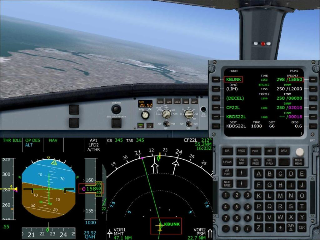 The following image shows such a descent in flight. It has been taken when the aircraft was passing the KBUNK waypoint.