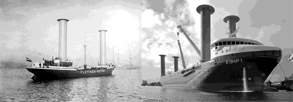 Figure : One of the first rotor ships, the Buckau (left), and the present-day rotor ship E-Ship (right) Source: wikipedia.