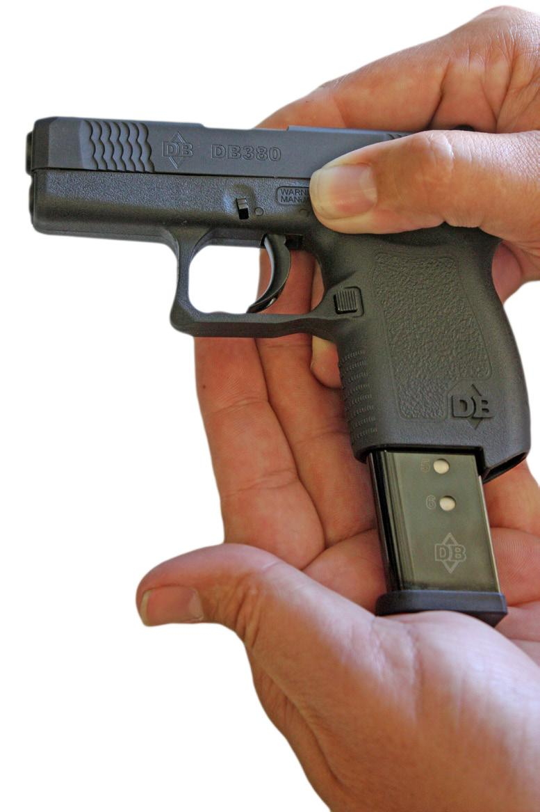 Insert the magazine into the magazine well at the base of the grip. Push until the magazine catch is fully engaged.