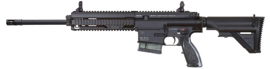 Using the HK-proprietary operating system, the MR762A1 is gas operated and uses a piston and a solid operating pusher rod in place of the common gas tube normally employed in AR15/M16/ M4-style