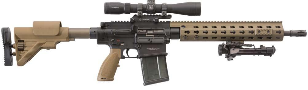 MR762A1 LRP II (Long rifle package II) 7.62 mm x 51 NATO semi-automatic rifles & carbines MADE IN USA G28 buttstock with adjustable cheek rest, butt pad, and length of pull.