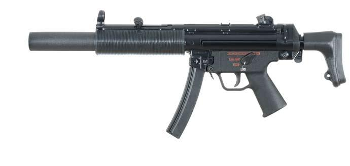 submachine guns Optional front and rear tritium sights available Ported barrel lowers velocity and sound signature of departing projectiles Ambidextrous pictographic trigger group with safe, single
