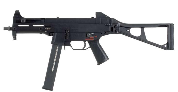submachine guns UMP trigger groups Barrel replaceable by the user. MP5 style cocking lever operating controls are like those of other HK weapons, simplifying training.
