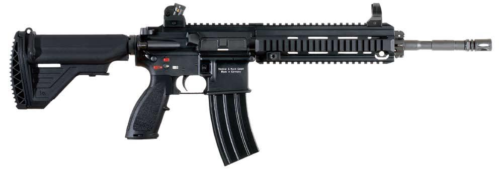 HK416 5.56 mm x 45 Military/Law Enforcement The HK416 was developed by Heckler & Koch for US special operations forces as a major product improvement of M4/ M16-type carbines and rifles.