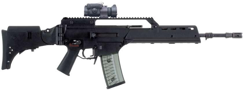 G36 5.56 mm x 45 Military/Law Enforcement Developed by Heckler & Koch in the mid 1990s, the G36 is a true modular weapon system in caliber 5.56 x 45mm NATO (.223 Remington).