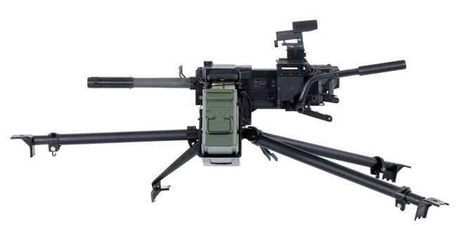 grenade launchers upper mount/gun cradle upper mount (Gun Cradle) The upper mount/gun cradle effectively buffers recoil using twin hydraulic buffers and includes handles, a secondary trigger lever, a