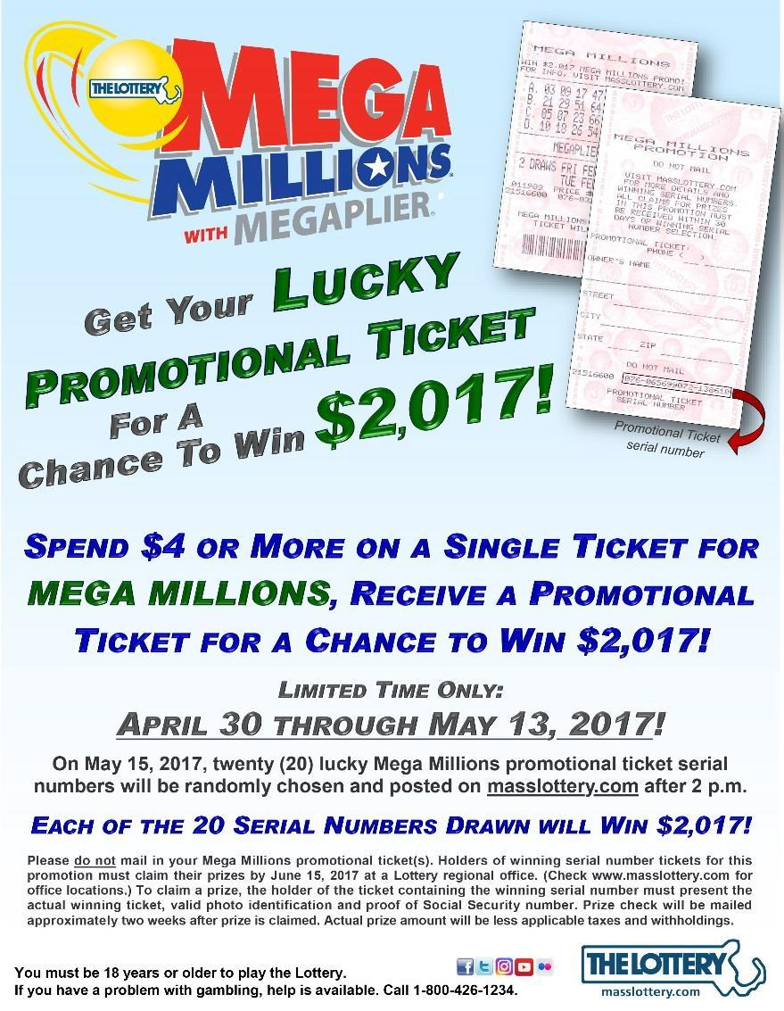 a promotional ticket for a chance to win $2,017.