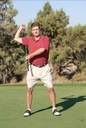 Standing Shoulder Stretch Standing Shoulder Stretch a Standing Shoulder Stretch b Place your left hand on the shaft of the club and underneath your arm pit with the face of the club