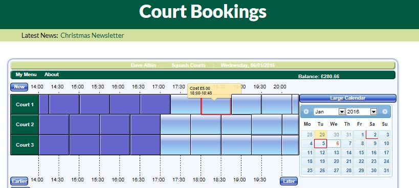 2) How to Book a Court via the website using