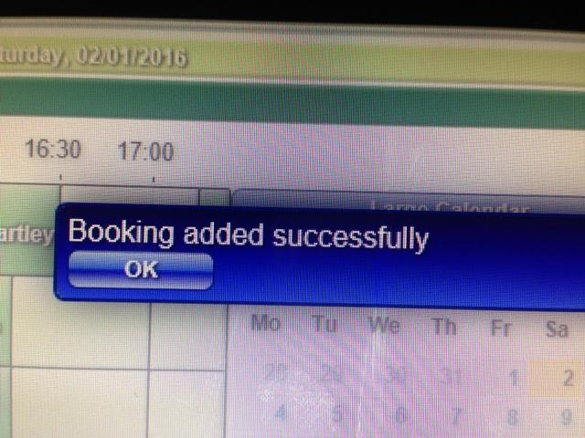 scanner beeps and the Add Extra Post-booking Minutes box is automatically populated by dots You will then be prompted with the message saying Booking added