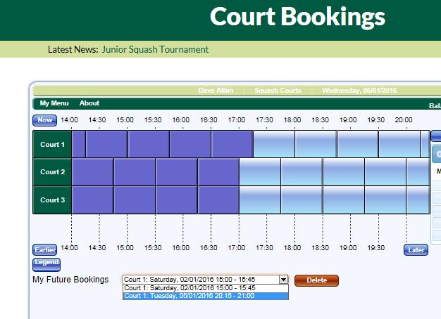 6) How to cancel a Court via the website via your Personal Device Log onto the website and select Court Bookings Below the court bookings, select the My Future Bookings Dropdown and select the court