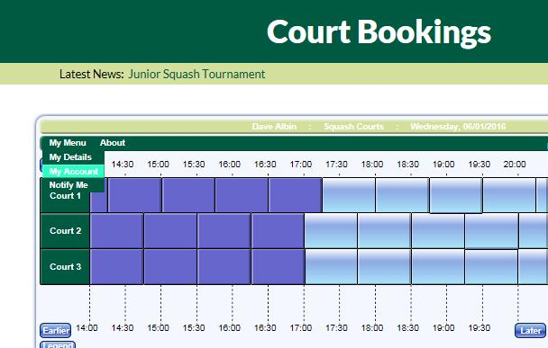 8) Checking your Club Account via the Website via your Personal Device Log onto the website Click on Court Bookings and select My Menu and then select My Account (highlighted below) This brings up a