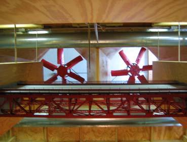 Wind tunnel testing and complex computer analyses were performed on potential modifications to the Golden Gate Bridge to determine which modifications do not result in problems during strong winds.