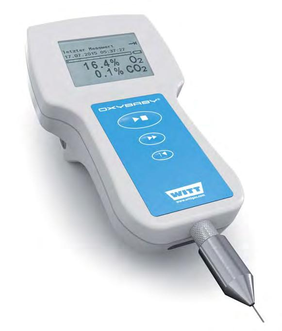 GAS ANALYSER OXYBABY M+ for O 2 or O 2 standard version Cordless hand held oxygen or combined oxygen and carbon dioxide analyser for checking modified atmospheres in food packs.