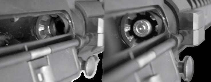 When the magazine is removed and the chamber is empty, push the top portion of the bolt catch to allow the bolt and carrier to return forward. 8.